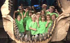 kids in a giant shark jaw